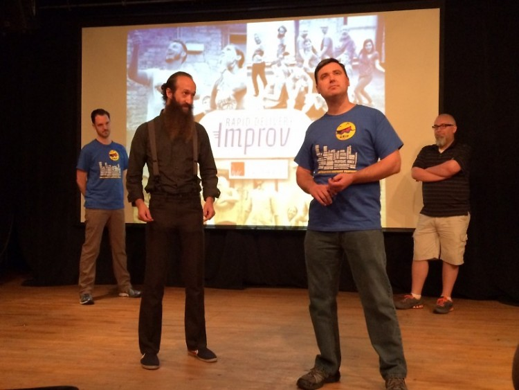 "Rapid Delivery Improv played ""Four Corners"" at the Monday kick-off of the Grand Rapids Improv Festival."