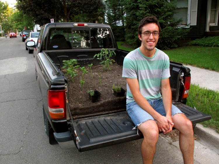 "Eric and his truck, just hanging out in <a href=""http://www.midtowngr.com/?page_id=24"">The Woods</a>."