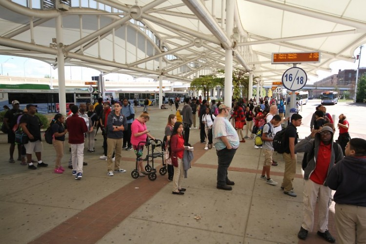 Passengers awaiting their bus at Rapid Central Station