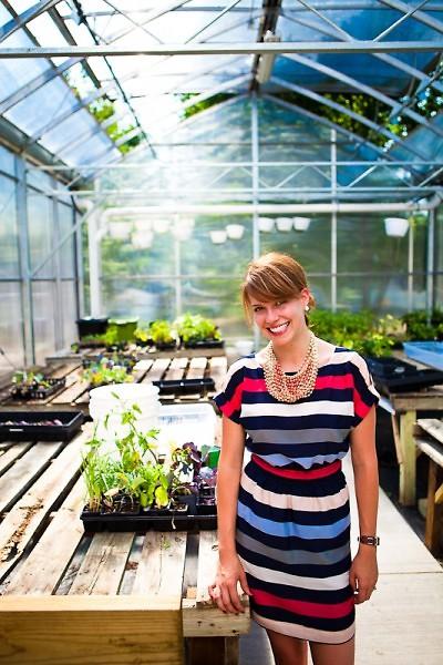 Danielle Veldman in the Baxter greenhouse