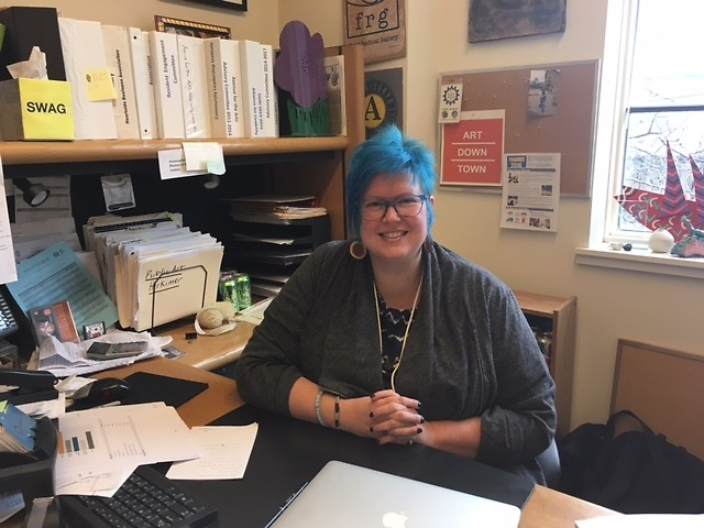 Jenn Schaub, coordinator at Avenue for the Arts, in her office in March 2017.