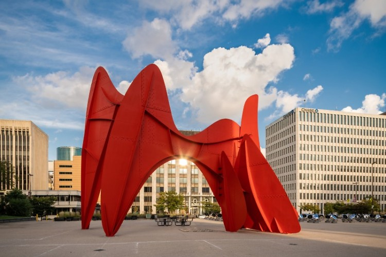 La Grande Vitesse, a sculpture by artist Alexander Calder, in front of Grand Rapids' City Hall.