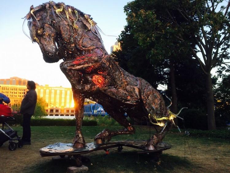 """Lux Maximus,"" sculpture blending metal and glass"