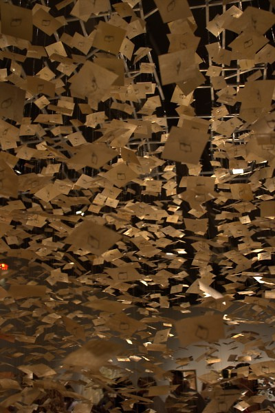 detail of Lynda Cole's Rain at the Grand Rapids Public Museum