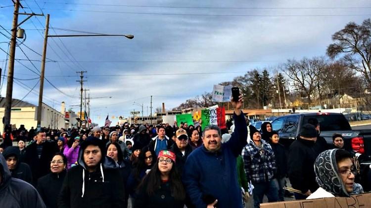 La protesta en Grand Rapids