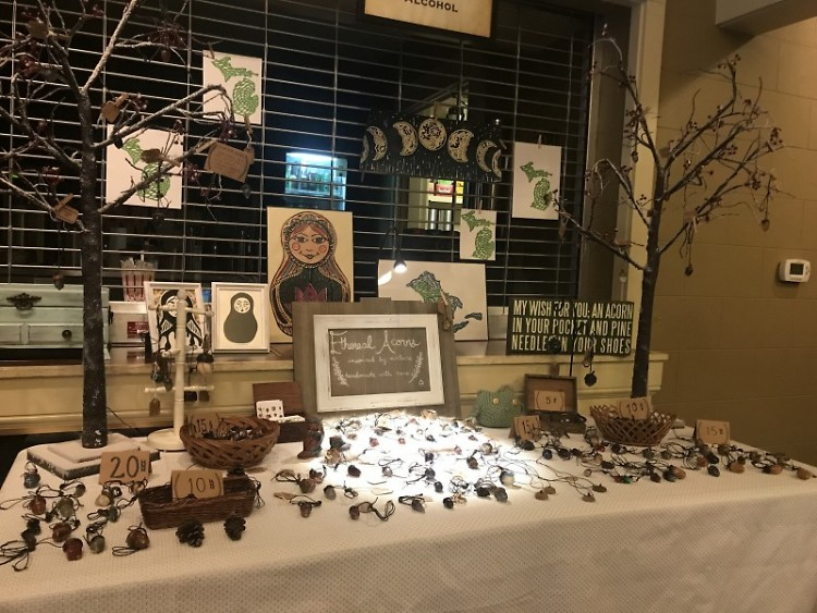Ethereal Acorns booth at the February Indie Flea Market.