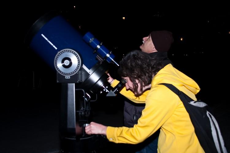 Calvin College Senior Kristen McHugh gazes up at Saturn