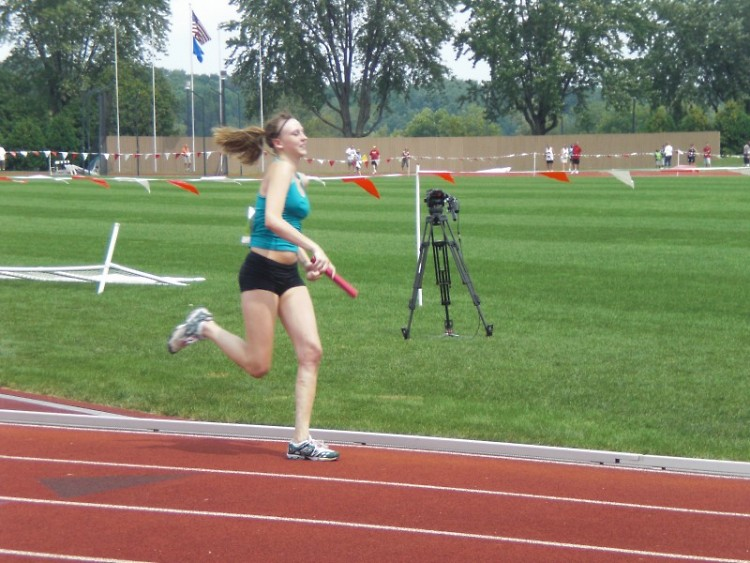 Michelle Workman competes in the relay.