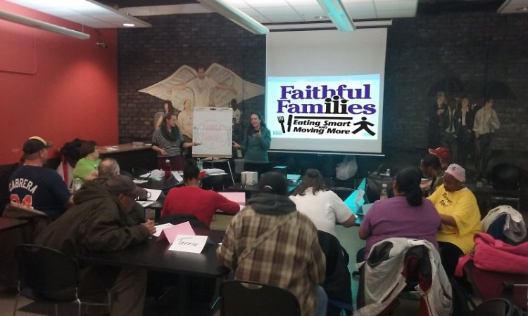 Our patrons enjoy a Faithful Families class on eating smart!