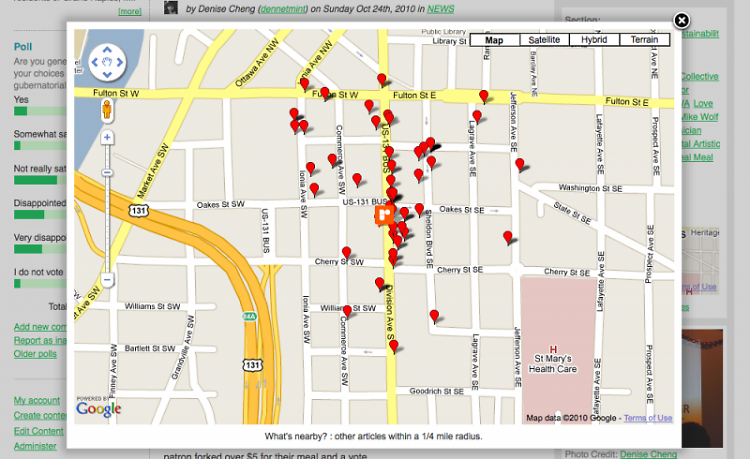 """Nearby Articles, one of our newest features (hint: click the """"nearby articles"""" link under the map to the right)"""