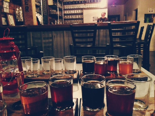 A flight of all Elk Brewery beers on tap.