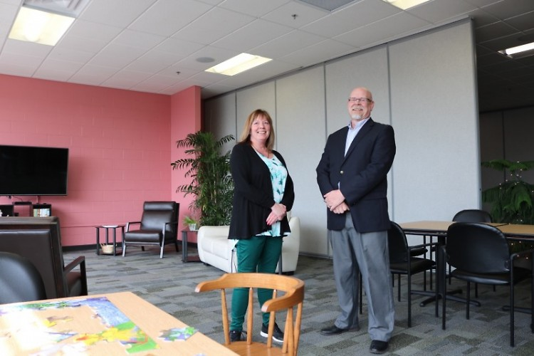 "Bethlehem Intergenerational Center Director Sue Davidson (left) and Pastor Jay Schrimpf (right) pose in the new ""Rose Room."""