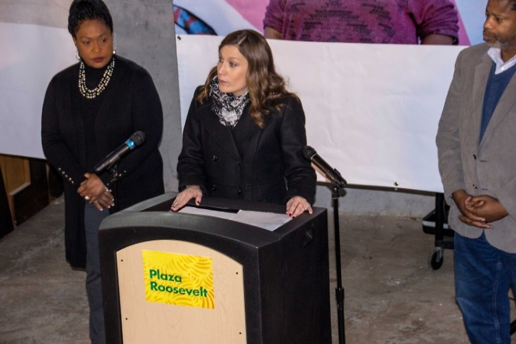 Habitat Kent Executive Director BriAnne McKee introduces the Plaza Roosevelt project alongside community partners.
