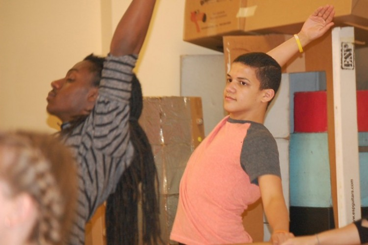 Teens practicing at the Civic School of Theatre Arts