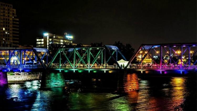 Blue Bridge lit up like a rainbow