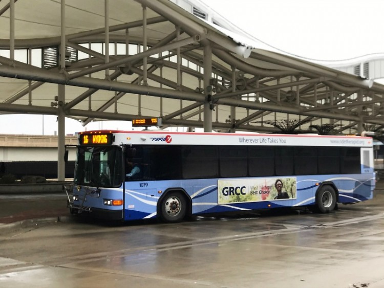 A Rapid bus at Central Station in Grand Rapids