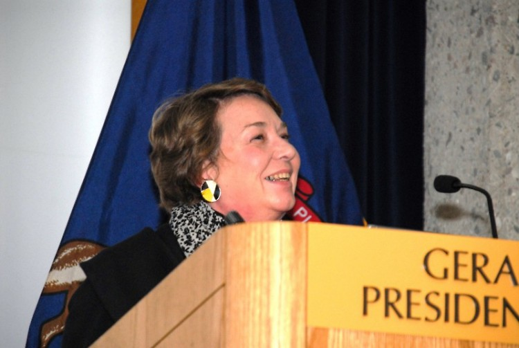 Rebecca Smith-Hoffman notes her appreciation for the award at a recent program sponsored by the Grand Rapids Historical Society