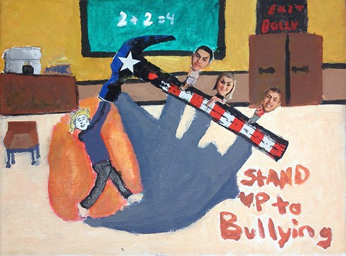 This artwork was created at the Cook Arts Center as part of a special project surrounding the topic of bullying.