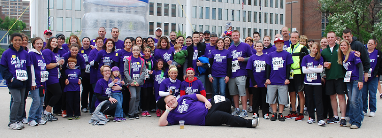 The 2013 Running for Jenny team pose for a photograph following the Fifth Third River Bank Run.