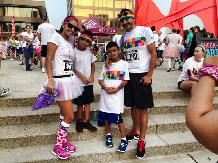 Iracema Garcia and her family after a race