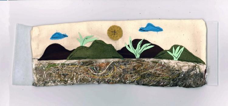 Untitled. Fabric, paper, thread, plastic, dirt, plant matter, found wire on fabric. Flex Gallery. Grand Rapids, MI. 2019.