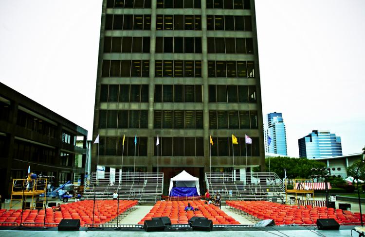 Stage preparations at Calder Plaza underway