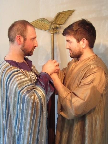 Actors Scott Lange and Riley Van Ess in Antony and Cleopatra.