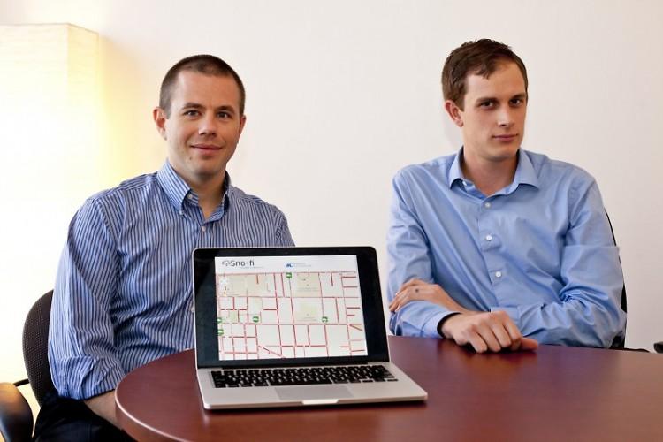 Ryan Graffy and Joshua Hulst show off their Sno-Fi app video
