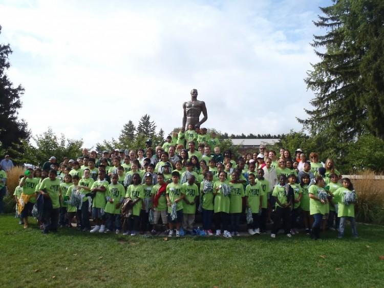 GRPS students gather for a photo at the famous Sparty statue on the campus of Michigan State University in East Lansing.