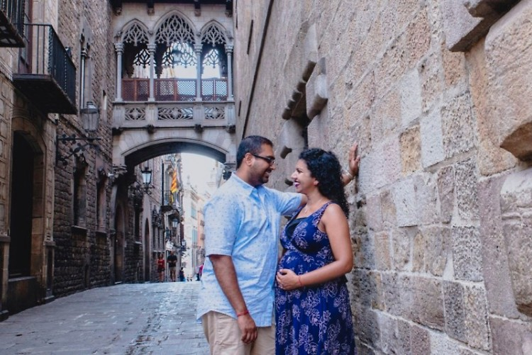 Amar and I during a trip to Spain while I was pregnant.