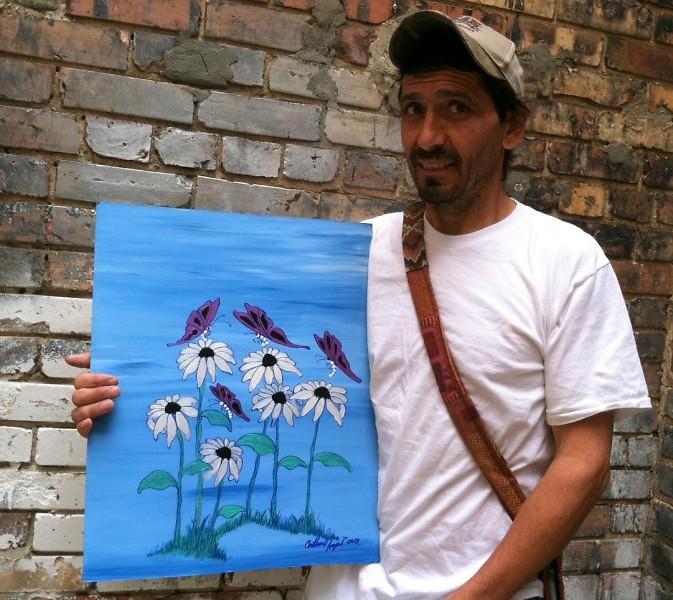 Tony with metallic daisies