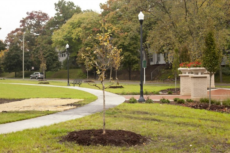 The first tree planting took place this past Saturday at Grand Rapids' newest public green space, Pleasant Park.