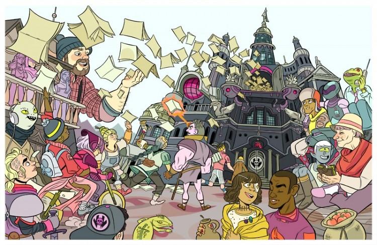 Celebration of Free Comic Book Day by Ann Arbor illustrator, Carolyn Nowak.
