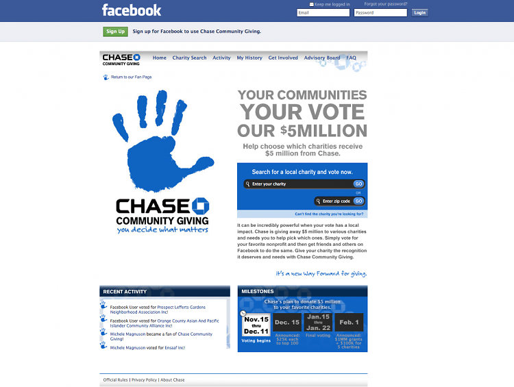 Chase Community Giving on Facebook