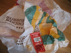 The remains of devoured Taco Bell