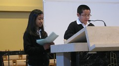 Potter's House students honored Chavez by reciting quotes in Spanish and English at the Community Gathering