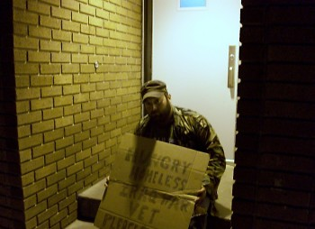 This is a picture of me unsuccessfully panhandling.