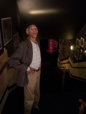 Willie at the back entryway into the exhibit
