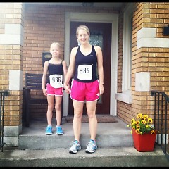 Annie (left) and Doublestein before Annie's first 5K.