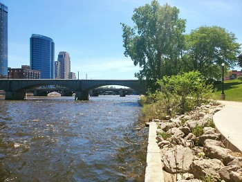 Grand River meets Ah-Nab-Awen Park in downtown Grand Rapids.