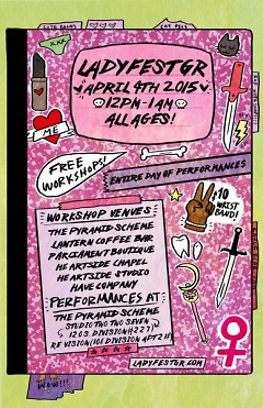 The LadyFest poster highlights the event's DIY feel.