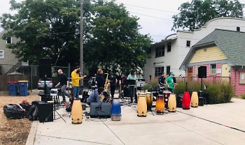 West Michigan-based Latin rock group Cabildo peforming live at Cherry Park on Sept. 10.