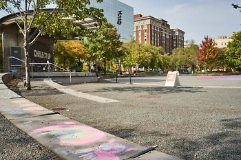 "Rosa Parks Circle in downtown Grand Rapids, after a Sept. 26 ""Chalk It Up"" event."