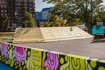 Installing of the 555 Monroe skate, bike, and scoot park.