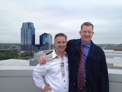 Dana Friis-Hansen and I, with our city in the background