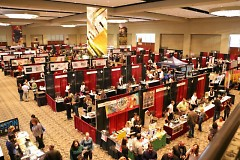 Aerial view of the ballroom with the tasting vendors.