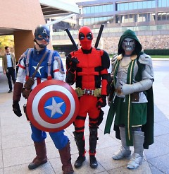 GR Comic Con attendees dressed as Captain America, Deadpool and Doctor Doom