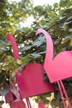"Closeup of ""250 Flamingos"" by Michael Liscano at DeVos Place"