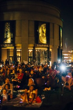 People watching fireworks outside the Grand Rapids Public Museum