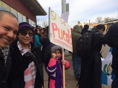 Sergio Cira Reyes and his family at the protest.